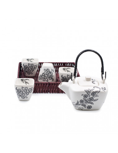Set da tè Yukiko in ceramica bianco satinato con disegni floreali neri da 400 ml - La Pianta del Tè Shop online