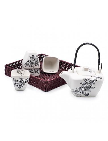 Yukiko set da tè teiera con manico in bamboo + 4 ciotole - La Pianta del Tè vendita online