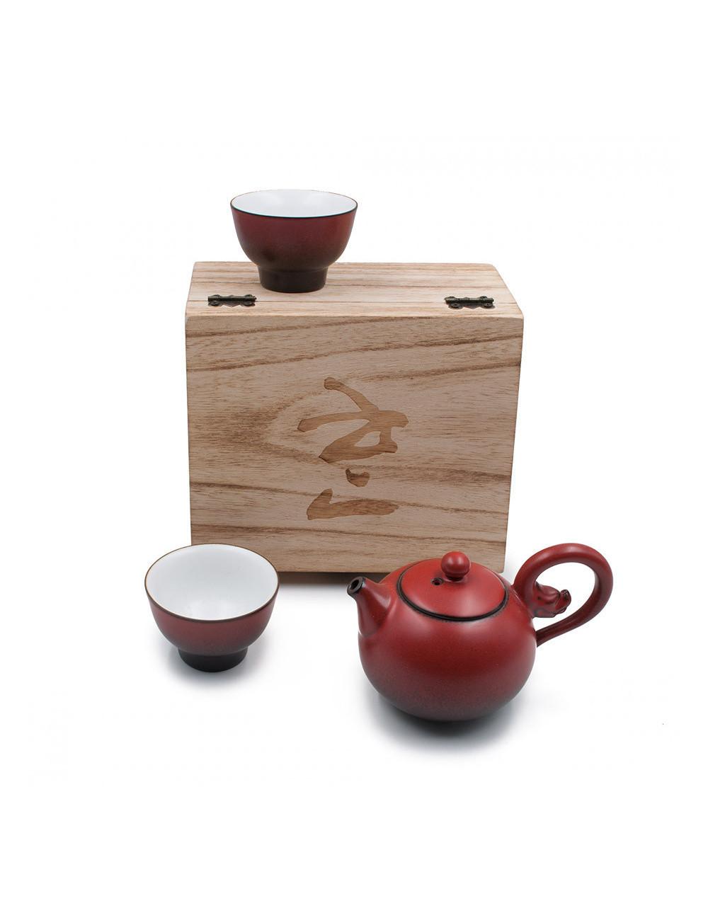 Set piccola teiera con 2 ciotole rosse e scatola in legno - La Pianta del Tè Store