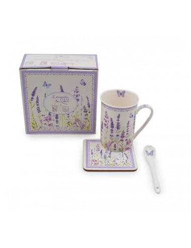 Set Lavanda con cucchiaino in porcellana, sottotazza e scatola abbinata - La Pianta del Tè vendita online