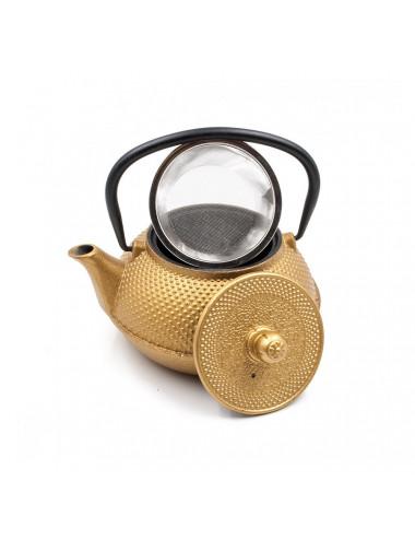 Teiera in ghisa smaltata oro con filtro da tè inox rimovibile - La Pianta del Tè Acquista online