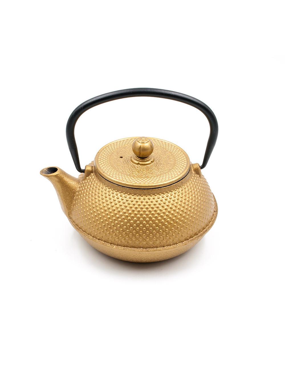 Teiera in ghisa oro brillante design giapponese - La Pianta del Tè Shop online