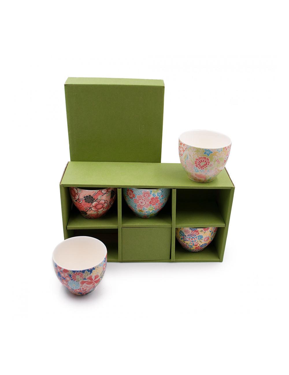 Set 5 ciotole da tè Japan di porcellana giapponesedecorate condiversi motivi floreali colorati- La Pianta del Tè Store