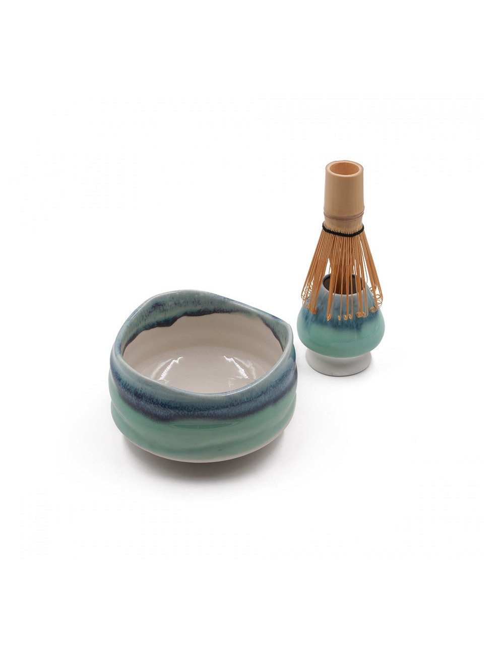 Set per matcha Wabi-sabi ceramica raku: ciotola chawan, frullino in bamboo chasen e portafrullino - La Pianta del Tè shop online