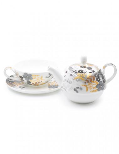 Tea For One Aurora. Elegante teiera con tazza in porcellana Fine Bone China - La Pianta del Tè vendita on line