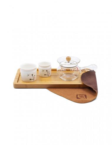 Set da tè teiera in vetro da 150 ml e filtro in acciaio inox + 2 ciotole in ceramica da 50 e 80 ml - La Pianta del Tè Store