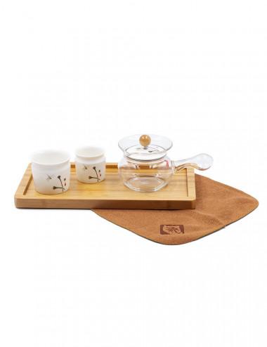Libelle set da tè con un vassoio in bamboo e canovaccio abbinato - La Pianta del Tè Negozio online