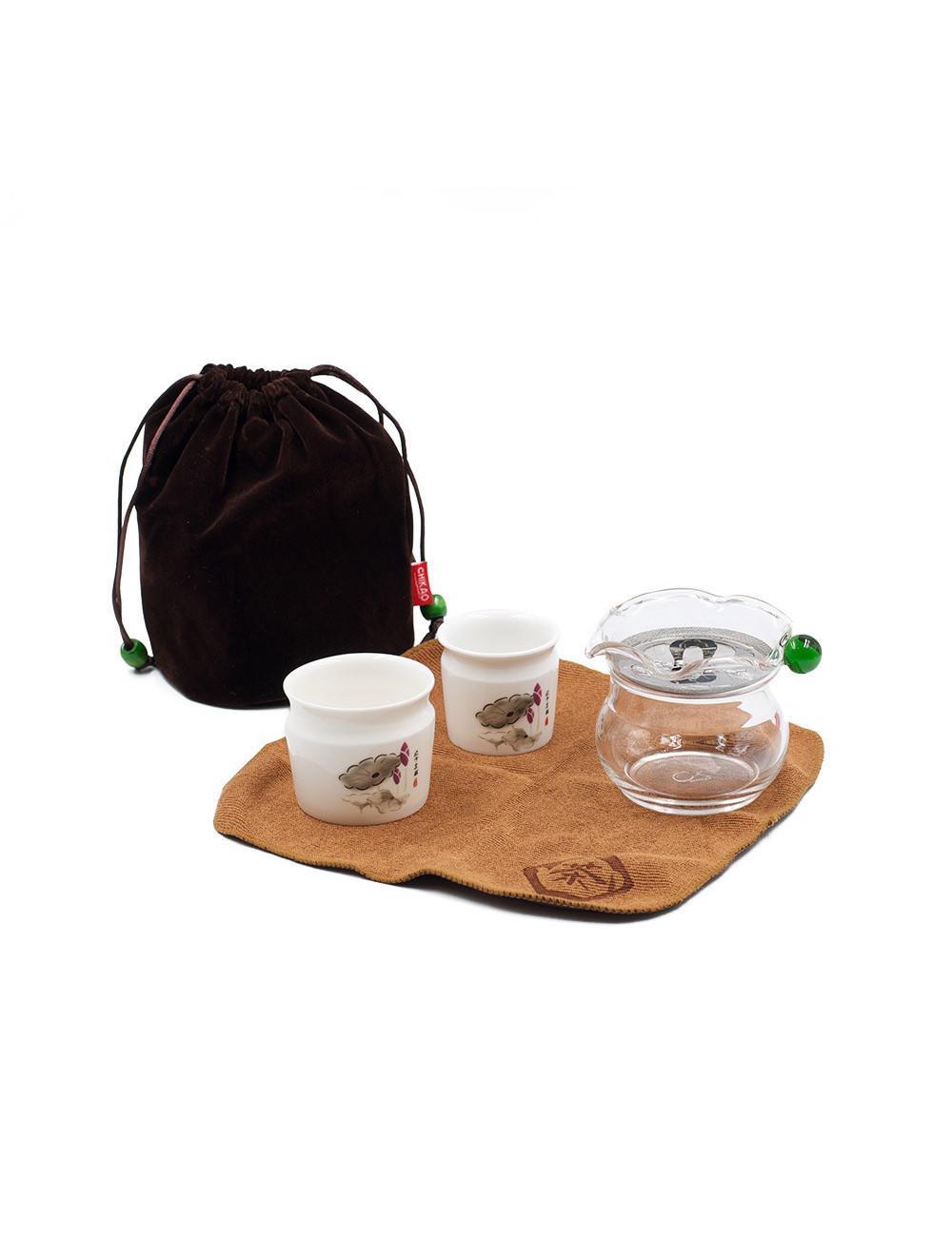 Set da tè da viaggio Poppy con piccola teiera in vetro e 2 ciotole in ceramica da 5 e 80 ml - La Pianta del Tè Store online