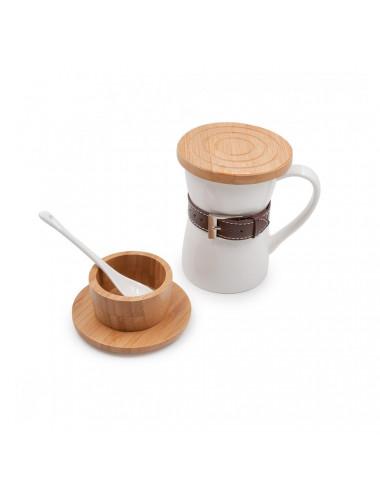 Mug Belt in porcellana con cinturino in cuoio e coperchio in bambù - La Pianta del Tè shop online