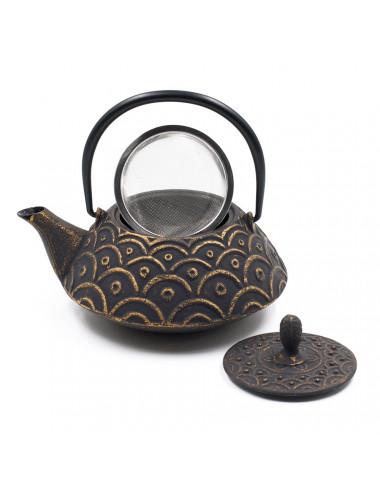 Teiera nera/oro in ghisa con filtro da tè inox rimovibile - La Pianta del Tè Vendita online