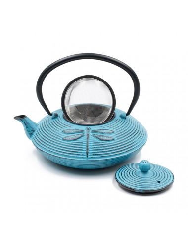 Teiera in ghisa turchese con libellule. 800 ml, filtro da tè estraibile - La Pianta del Tè Shop online