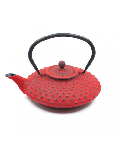 Teiera rossa in ghisa puntinata Japan - La Pianta del Tè Shop online