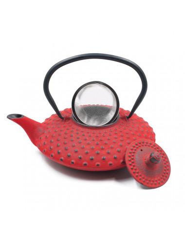 Teiera rossa in ghisa con filtro rimovibile in acciaio inox - La Pianta del Tè Store online