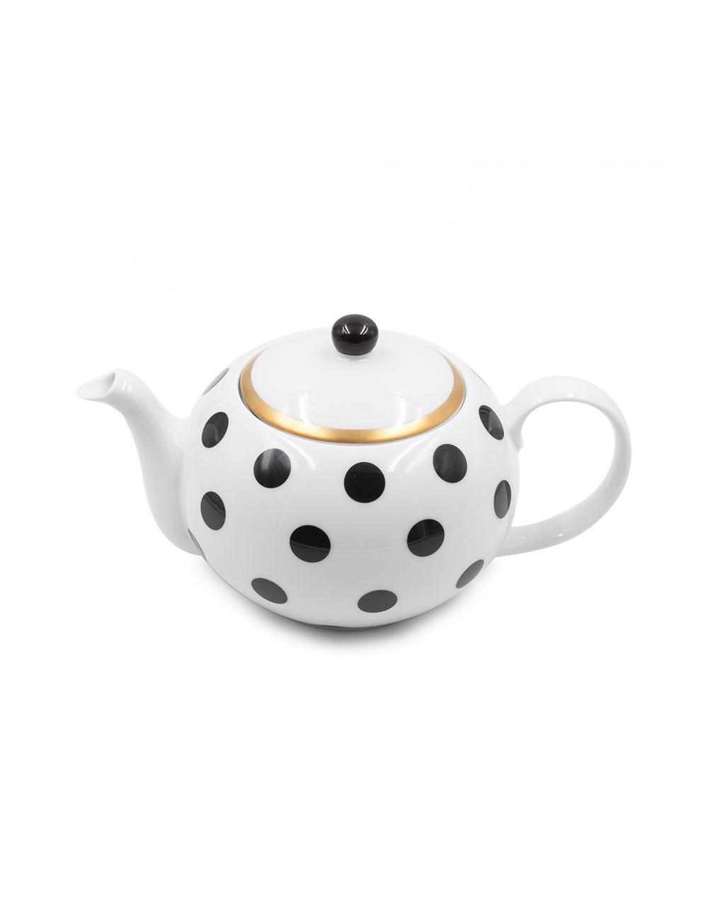 Teiera in porcellana bianca con pois neri in fine bone china - La Pianta del Tè shop online