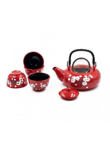 Set da tè in ceramica teiera con filtro e 4 ciotole - La Pianta del Tè vendita online