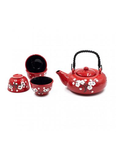Set da tè rosso fiori bianchi da 600 ml con manico in bamboo nero - La Pianta del Tè Shop online