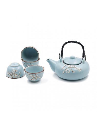 Set da tè Floris in ceramica carta da zucchero satinato con fiori di ciliegio bianchi da 600 ml - La Pianta del Tè Shop online