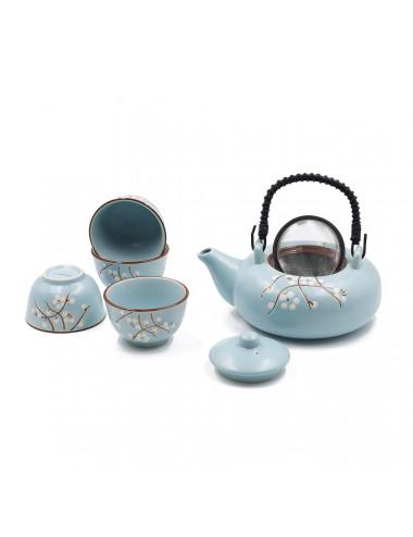 Floris set da tè teiera con filtro e manico in bamboo nero + 4 ciotole - La Pianta del Tè vendita online