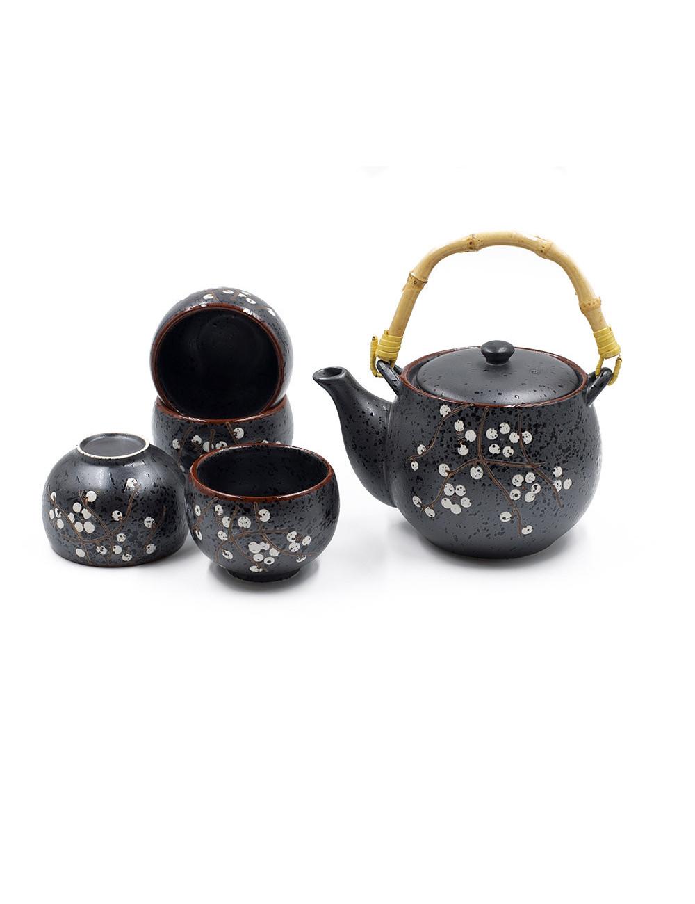 Set da tè Loto in ceramica nero satinato con fiori di ciliegio bianchi da 700 ml - La Pianta del Tè Shop online