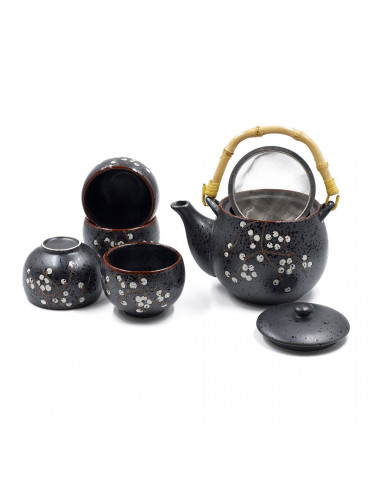 Loto set da tè teiera con filtro e manico in bamboo + 4 ciotole - La Pianta del Tè vendita online