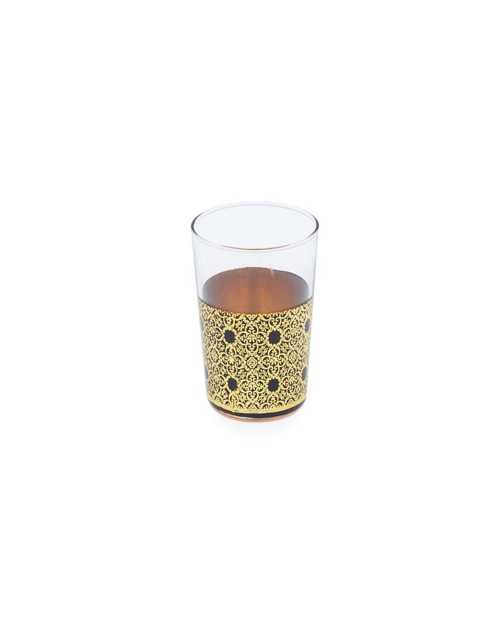 Bicchiere marocchino decorato in oro e nero - La Pianta del Tè acquista online