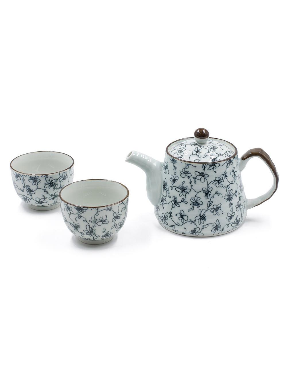 Set Furawa teiera da 500 ml con 2 ciotole motivi floreali blu - La Pianta del Tè Acquista online